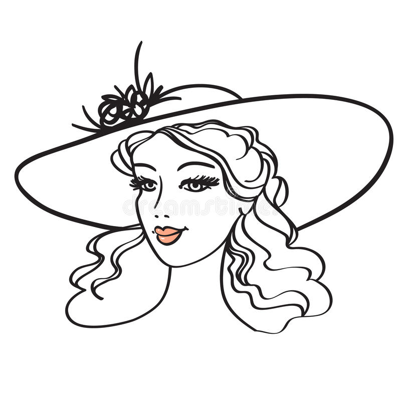 Download Beautiful woman in hat stock vector. Image of fashion - 13404533