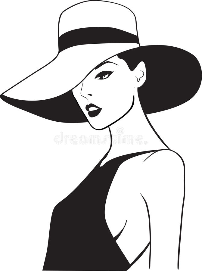 The beautiful woman in a hat royalty free illustration