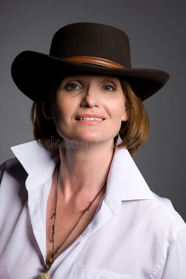 Beautiful Woman In A Hat. Stock Photos