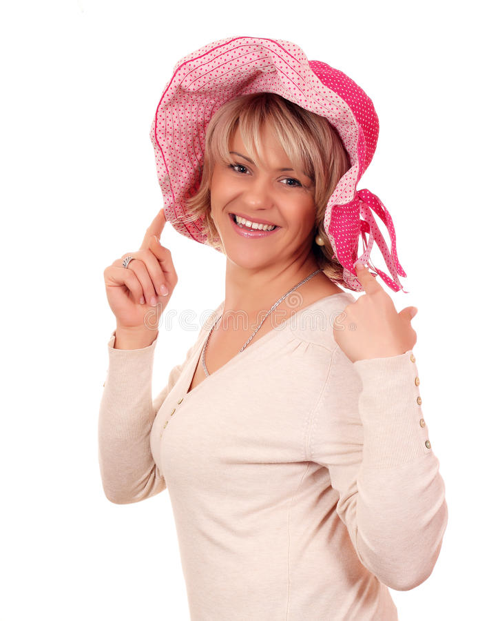 Download Beautiful woman with hat stock image. Image of person - 26818471