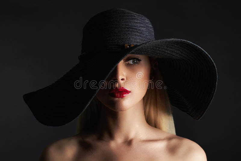 Beautiful Woman In Hat. Fashion Beauty Girl Stock Image
