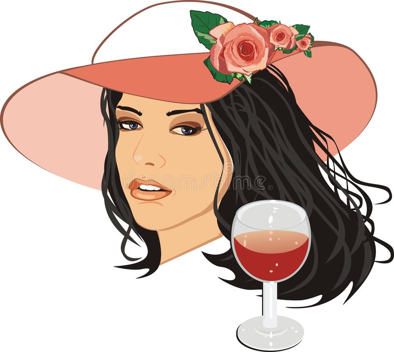Download Beautiful Woman In A Hat With Glass Of Wine Stock Vector - Image: 7893912