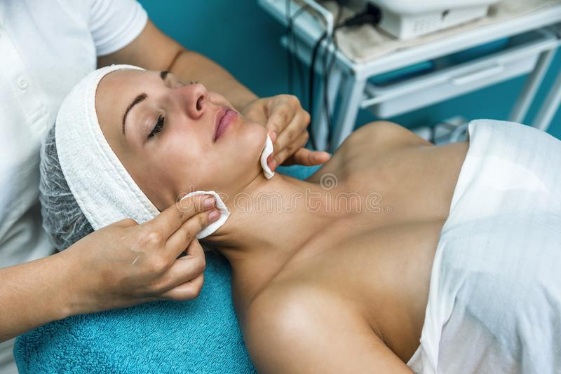 Beautiful woman at the beautician. stock images