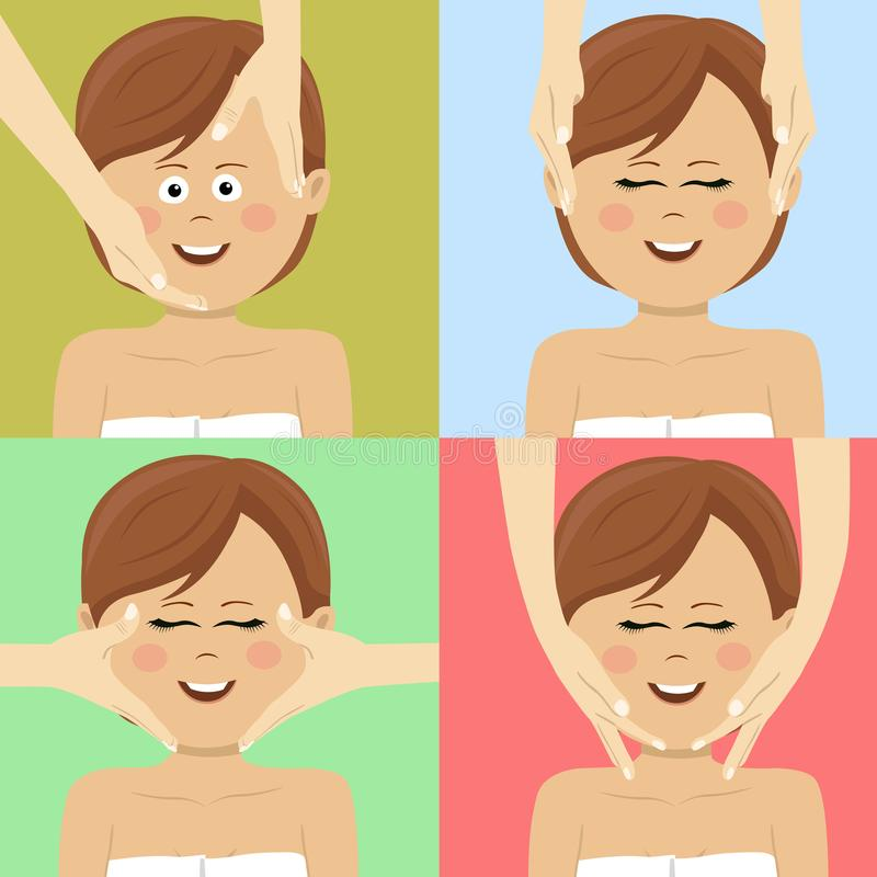 Beautiful woman having facial massage in spa. Top view. Beautiful woman having facial massage in spa salon. Top view stock illustration