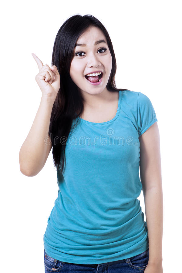Download A Beautiful Woman Having An Idea Stock Image - Image: 33853417