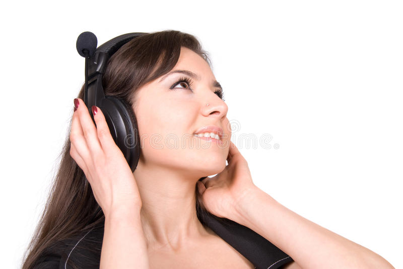 Beautiful Woman With Headphones Royalty Free Stock Images
