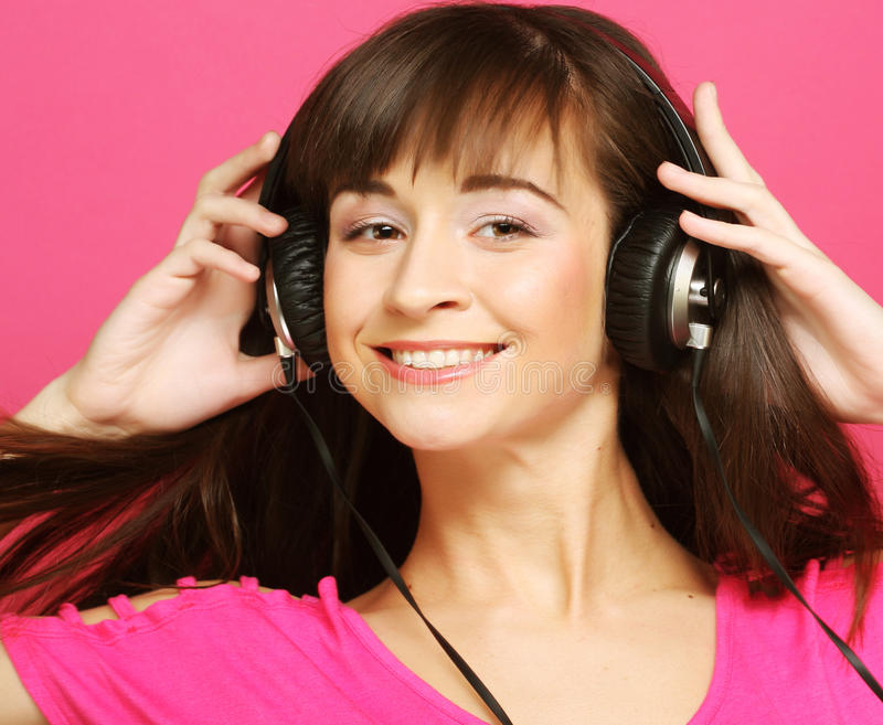 Download Beautiful Woman With Headphones Stock Photo - Image of hand, hair: 39509342