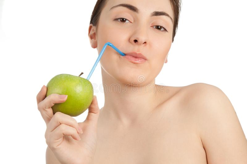 Beautiful woman with healthy apple juice isolated on white stock image