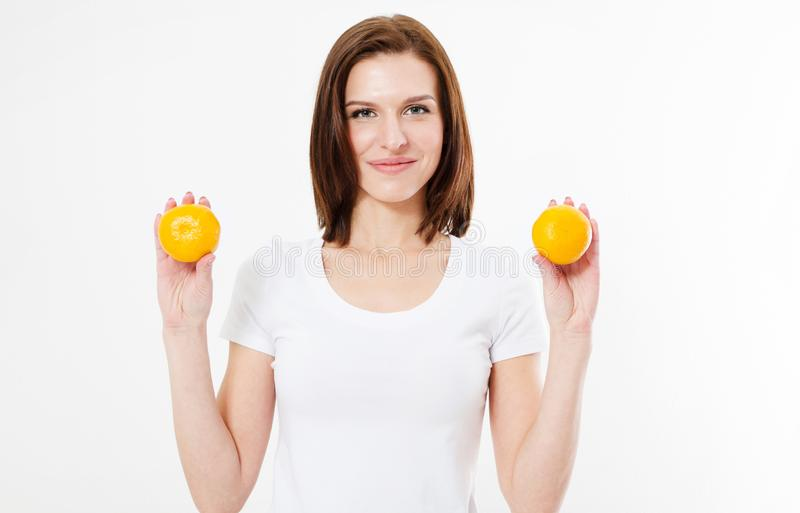 Beautiful woman with healthy food posing on white background. Isolated royalty free stock image