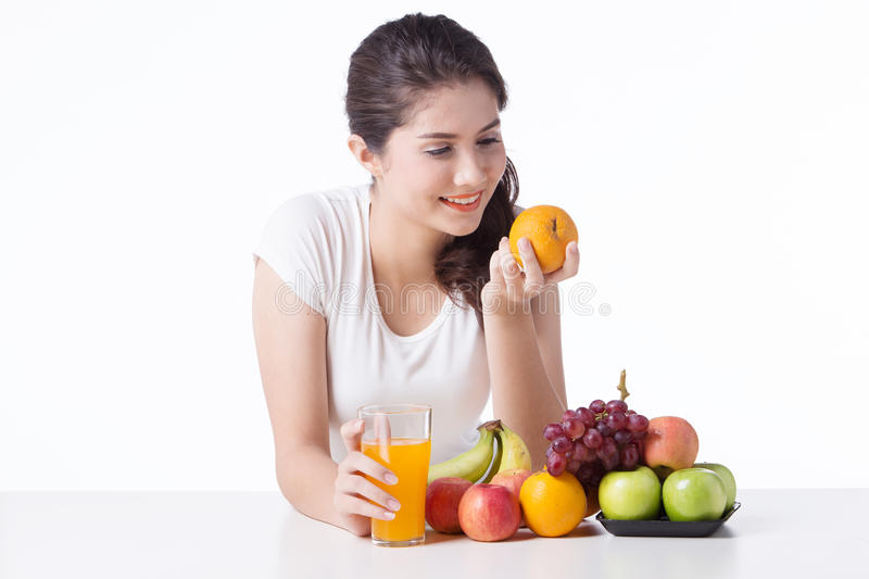 Beautiful woman with healthy food, white background. Isolate royalty free stock photography