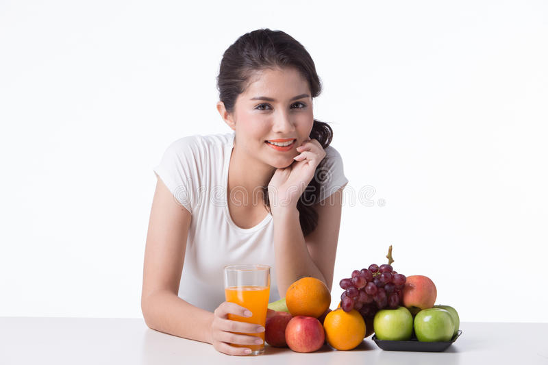 Beautiful woman with healthy food, white background. Isolate royalty free stock image