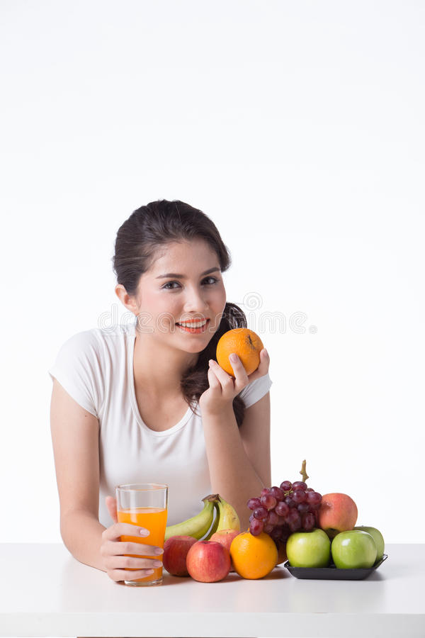 Beautiful woman with healthy food, white background. Isolate stock image