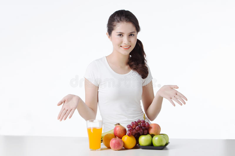 Beautiful woman with healthy food, white background. Isolate royalty free stock photos