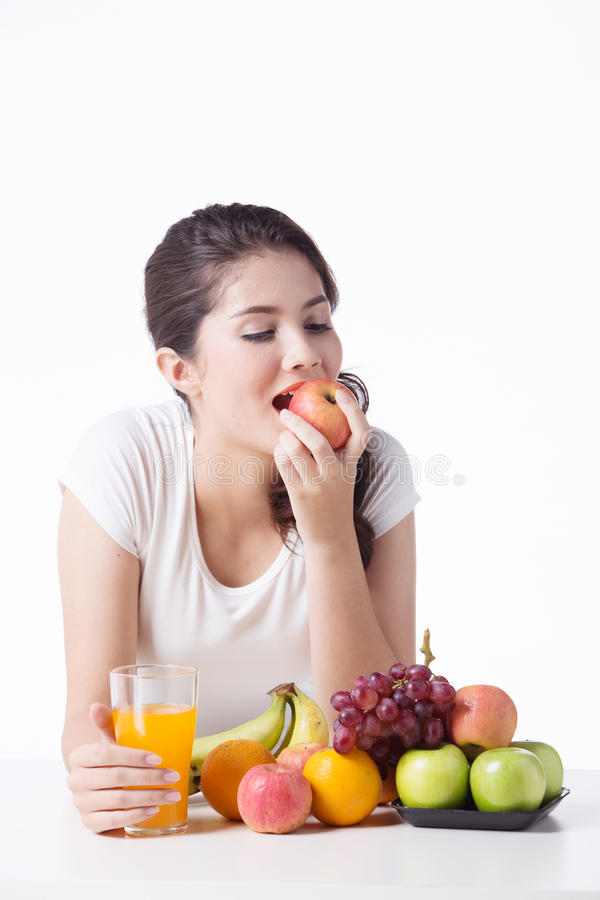 Beautiful woman with healthy food, white background. Isolate royalty free stock images