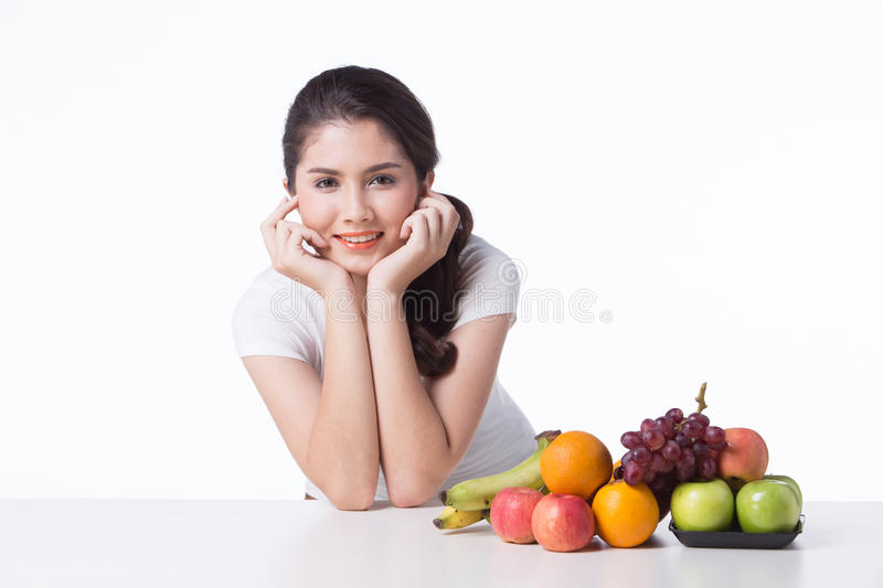 Beautiful woman with healthy food, white background. Isolate stock photography
