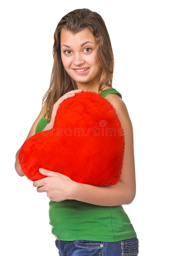 Download Beautiful Woman With A Heart Gift In Her Hands Stock Photo - Image: 28871842