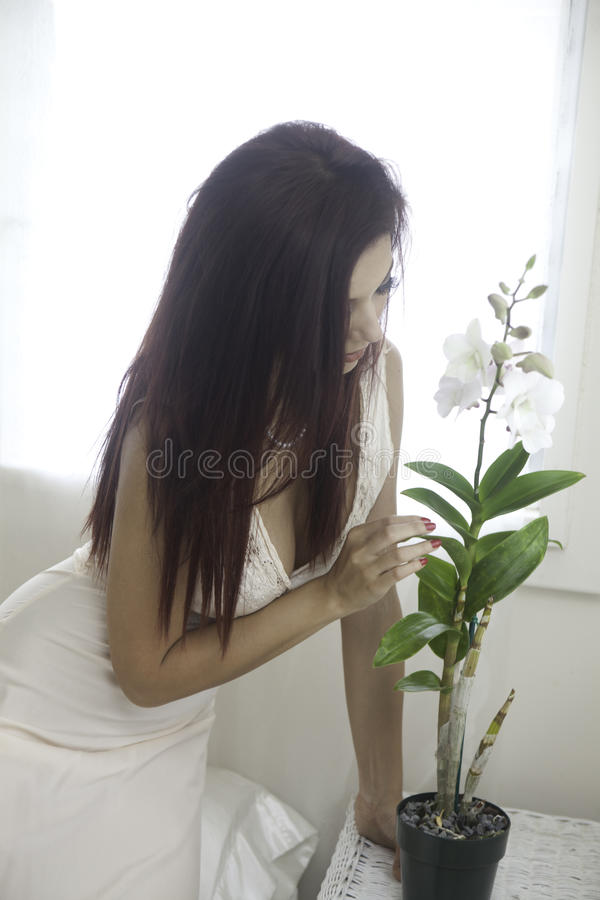 Download Beautiful Woman In Her Bedroom Stock Image - Image of private, white: 33152437