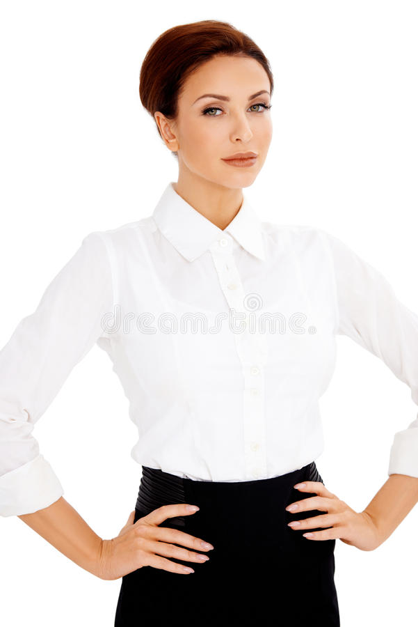 Beautiful woman with her hands on her hips royalty free stock image