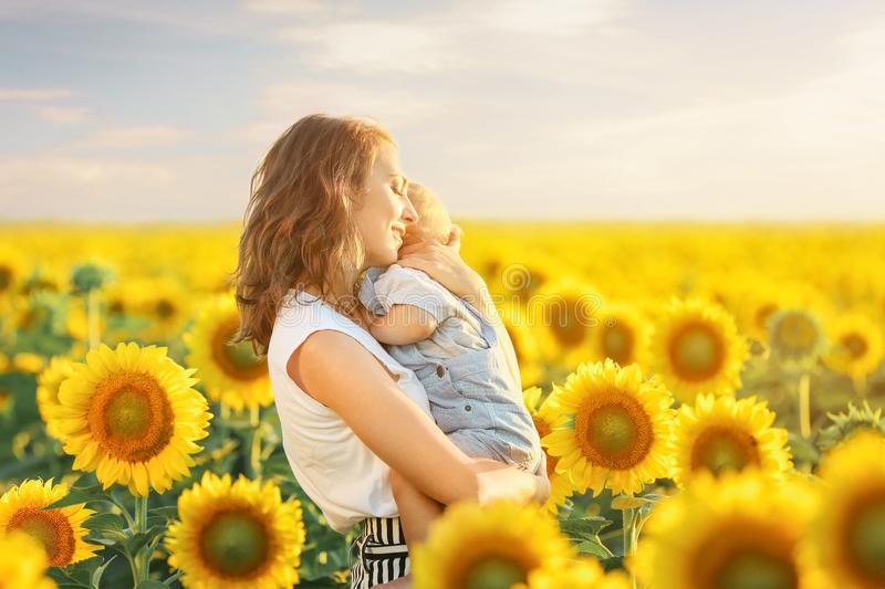 Beautiful woman with her little son in sunflower field on summer day royalty free stock images