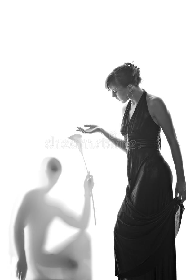 Beautiful woman and her lover shadow stock image