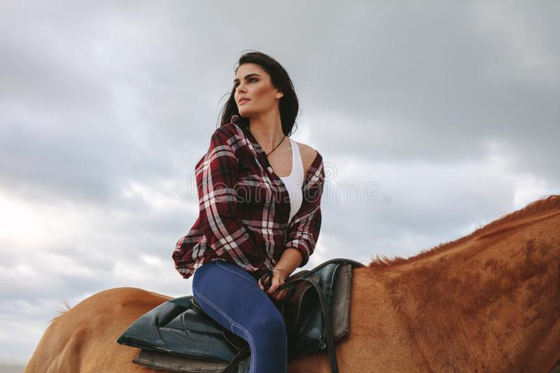 Beautiful woman on her stallion royalty free stock images