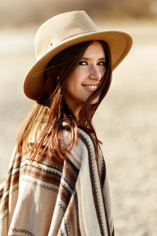 Beautiful woman hipster portrait smiling, with romantic look and royalty free stock images