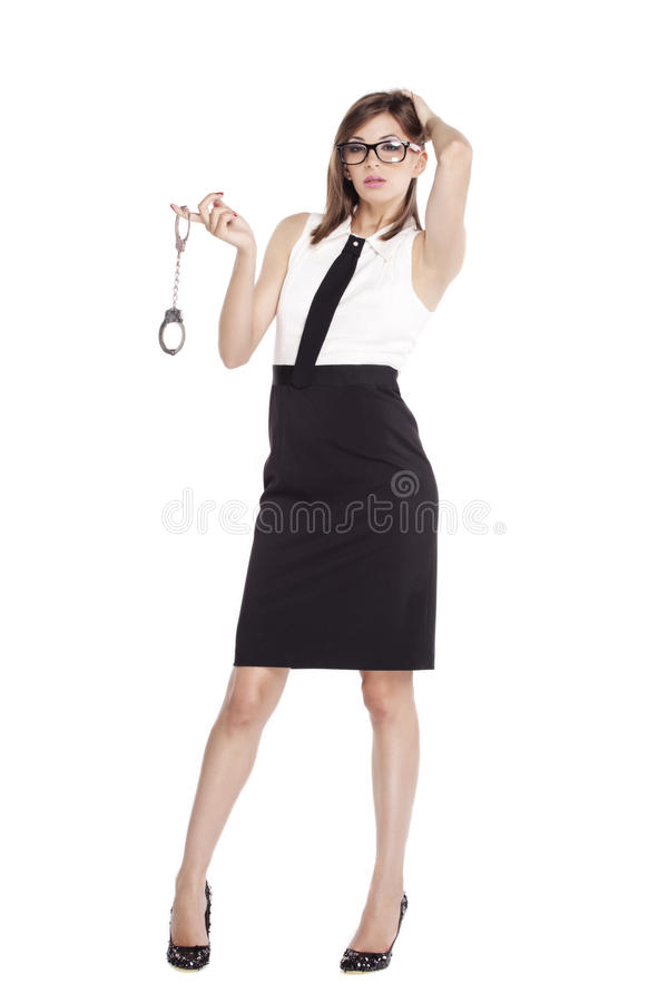 Free Beautiful Woman Holding A Pair Of Handcuffs Stock Image - 20666421