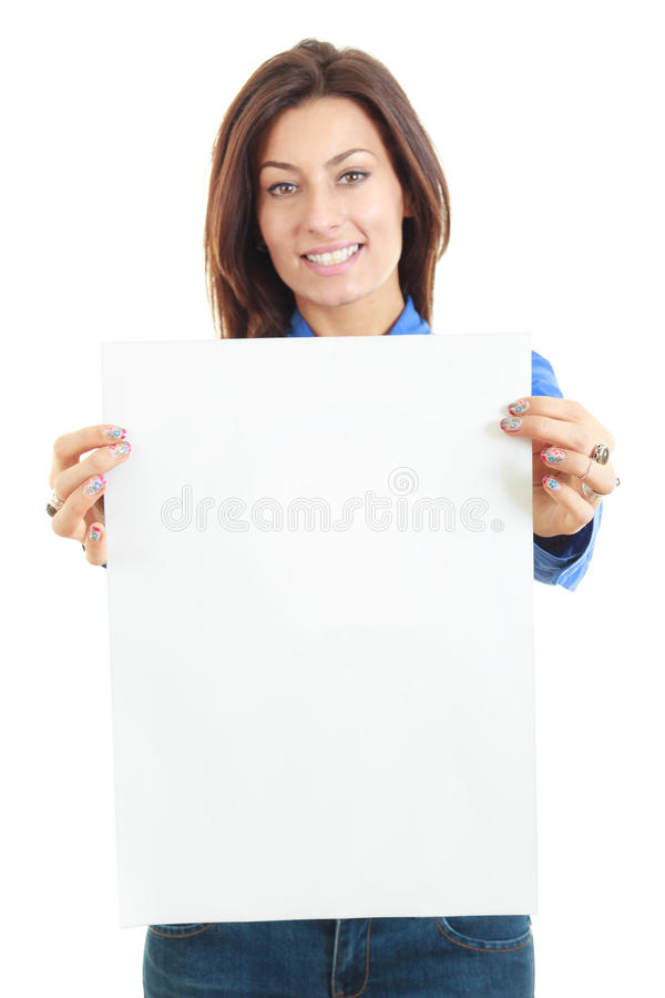 Beautiful woman holding blank board banner smiling stock photography