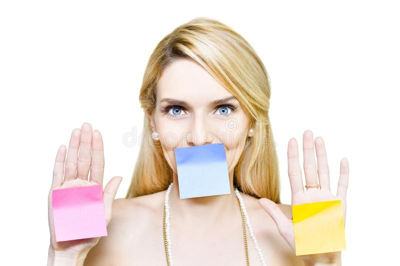Download Beautiful Woman Holding Blank Message Sticky Paper Stock Image - Image of attention, marketing: 25286443