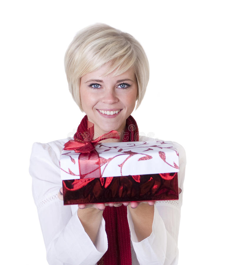 Beautiful Woman Holding Christmas Present royalty free stock images