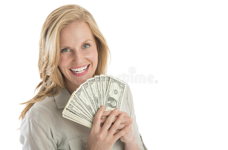 Download Beautiful Woman Holding Fanned One Dollar Bills Stock Image - Image: 34263479