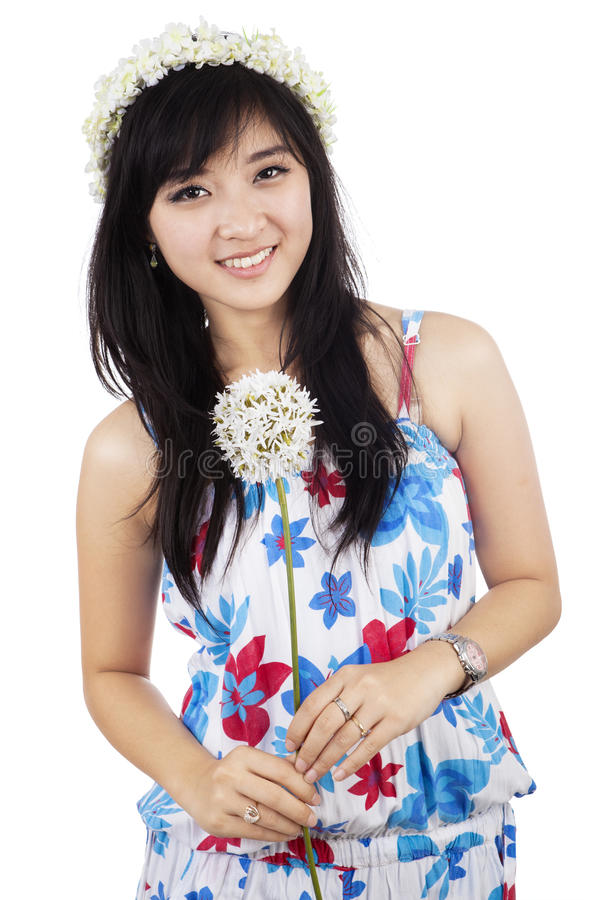 Beautiful woman holding flower isolated royalty free stock images