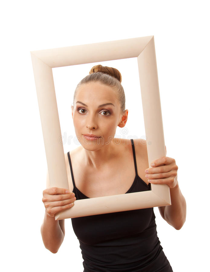 Beautiful Woman Holding A Frame And Smiling Stock Photo - Image of ...