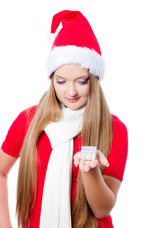 Download Beautiful Woman Holding A Gift Stock Photo - Image: 22283702