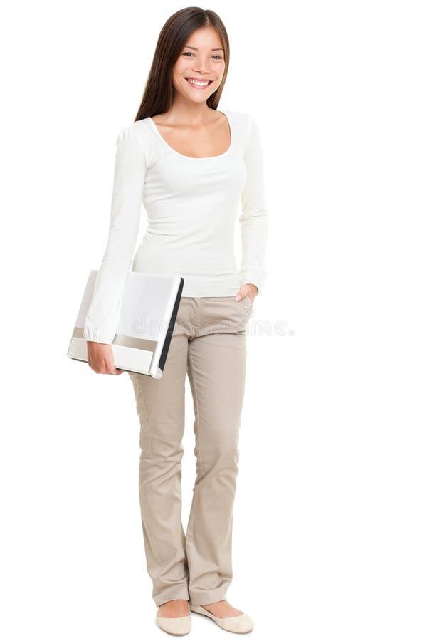 Beautiful Woman Holding Laptop royalty free stock photos