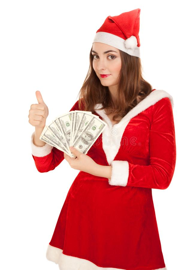Beautiful woman holding a lot of money isolated on white stock photography