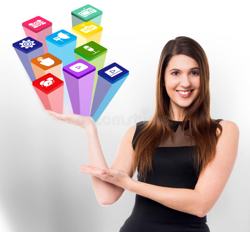 Download Beautiful Woman Holding Media Icons Stock Illustration - Image: 45815856