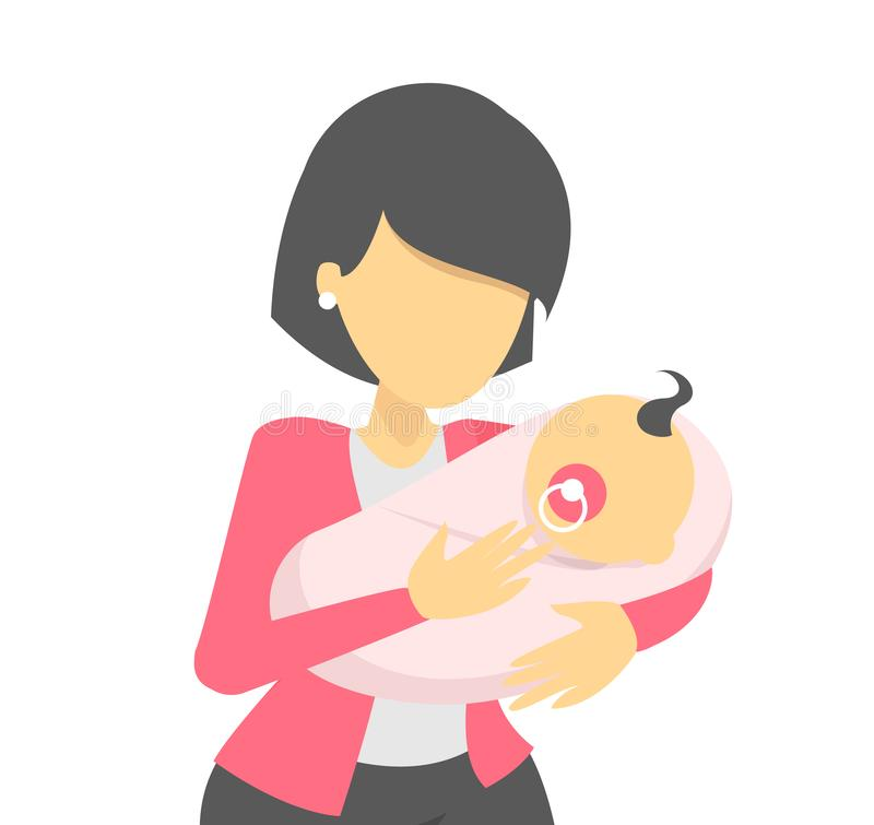 Beautiful woman holding a newborn baby. Young mother stock illustration