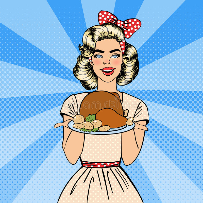 Beautiful Woman Holding a Plate with Roast Turkey. Housewife Cooking. Pop Art. Vector vector illustration
