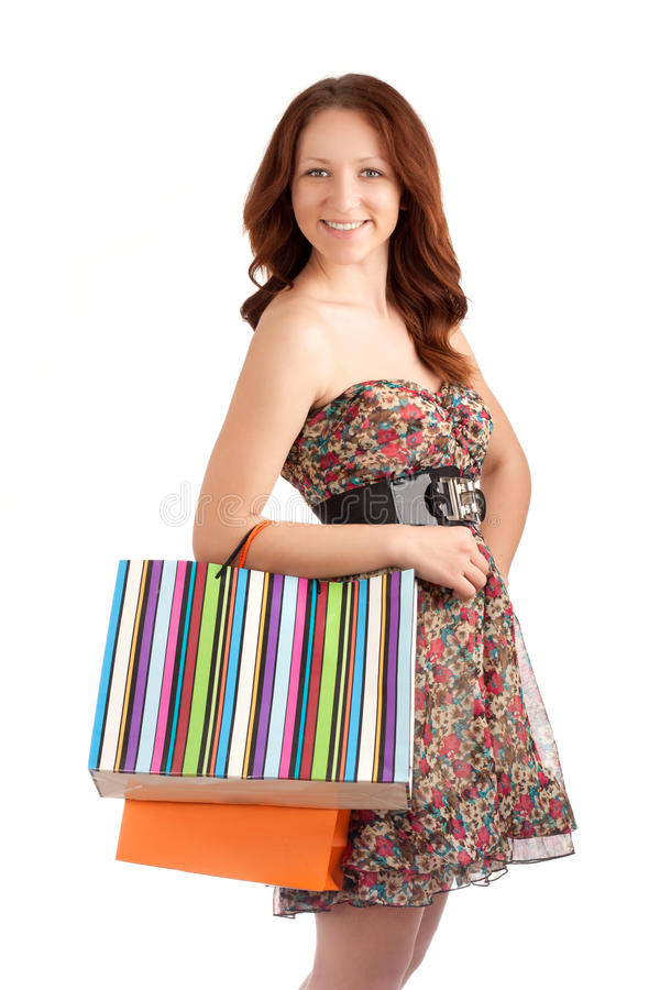 Download Beautiful Woman Holding Shopping Bags Stock Photo - Image: 30089744