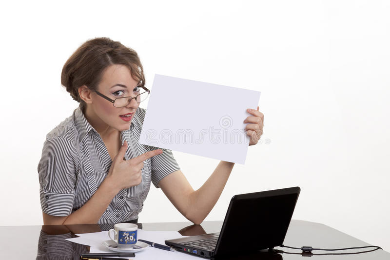 Beautiful woman holding white board stock images