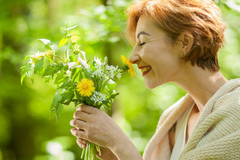 Beautiful woman holding wild herbs, smelling and smiling royalty free stock images