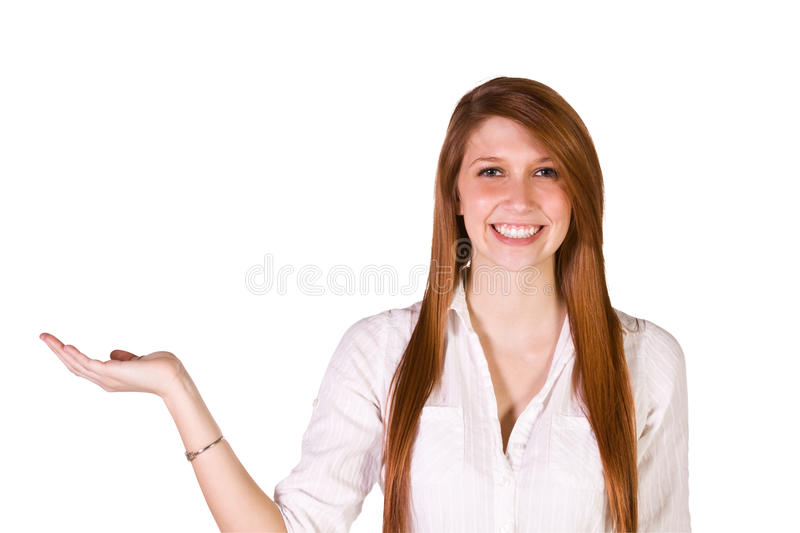 Download Beautiful Woman Holding Your Product With  Joy Stock Image - Image: 13576305