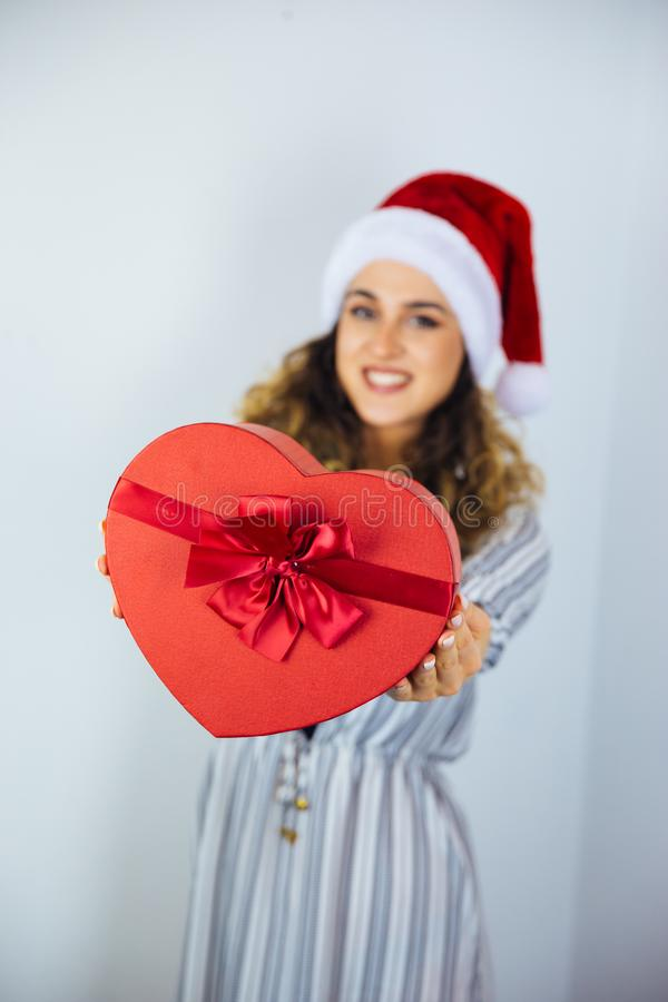 Beautiful Woman with a Holiday Gifts royalty free stock image