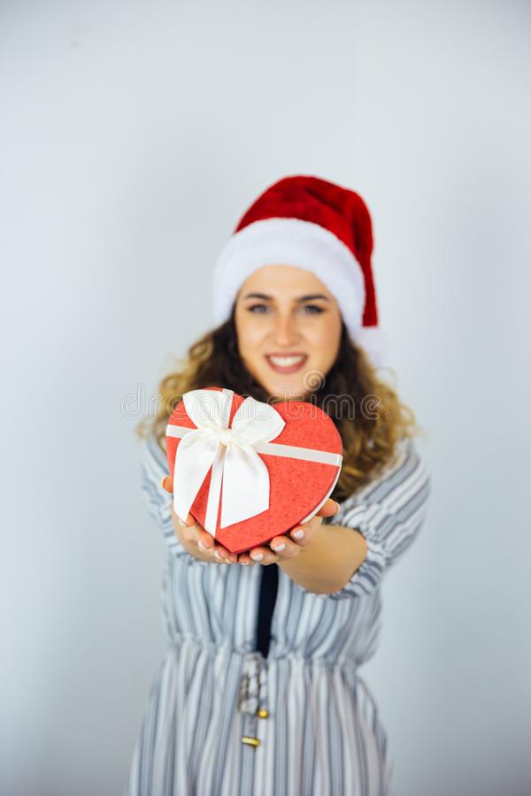 Beautiful Woman with a Holiday Gifts royalty free stock images