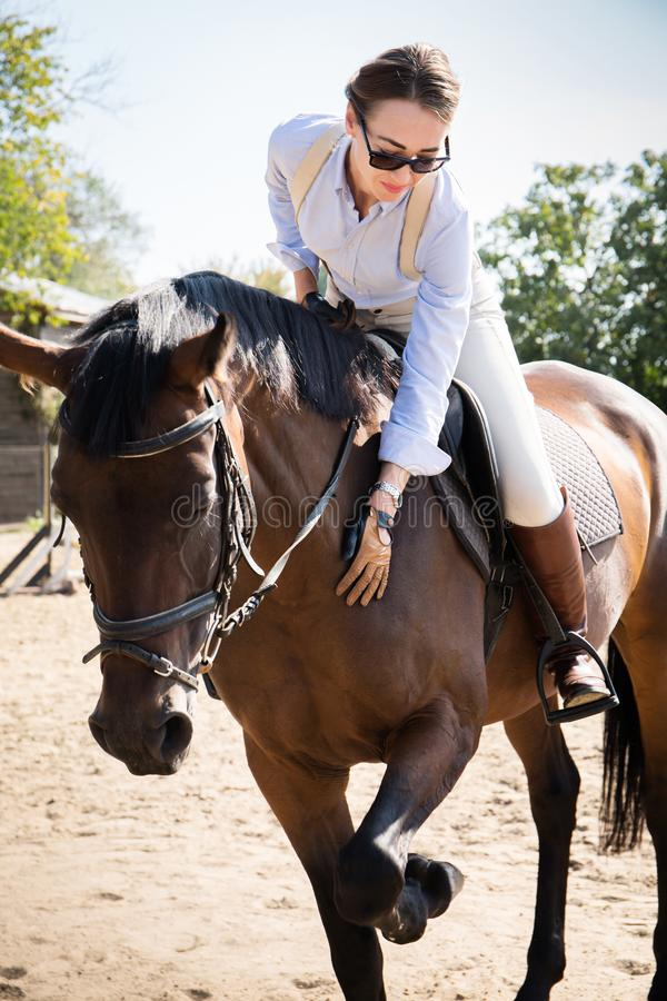 Beautiful woman horsewoman. Riding a horse at the stable stock photography
