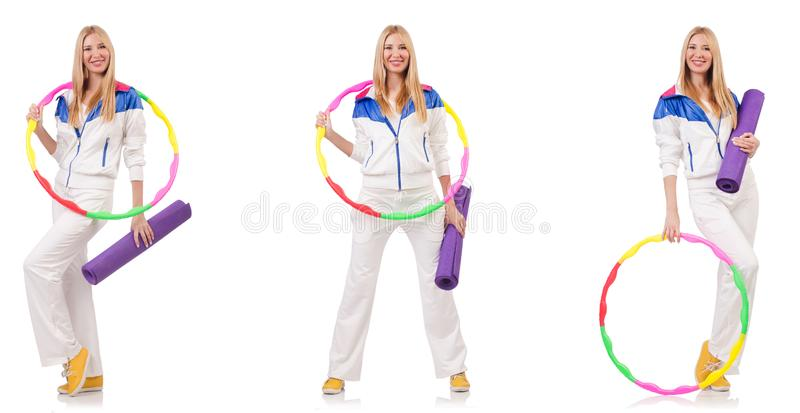 Beautiful woman with hula hoop isolated on white royalty free stock images