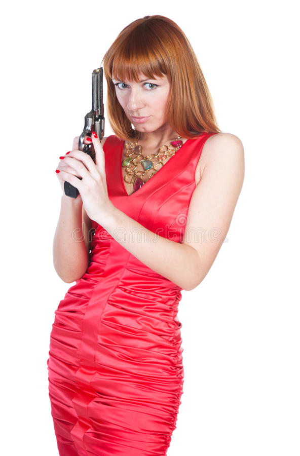 Free Beautiful Woman In A Red Dress With A Gun Royalty Free Stock Photography - 18978357