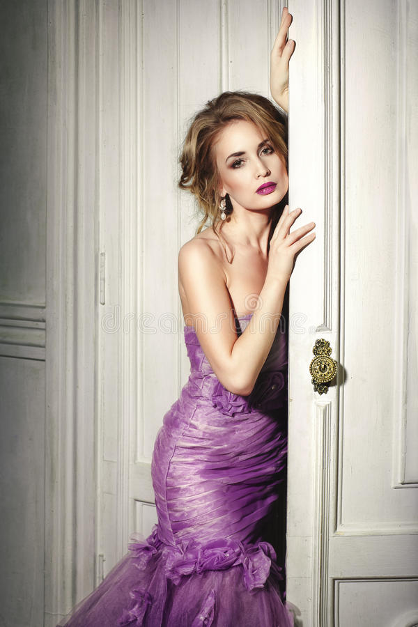Free Beautiful Woman In An Elegant Purple Dress. Stock Image - 67313601