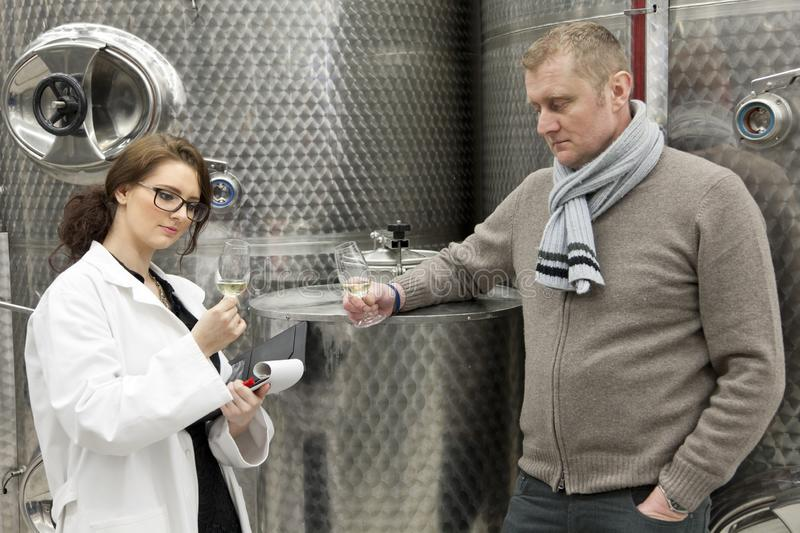 Beautiful woman inspector talking with manager in winery. stock photography